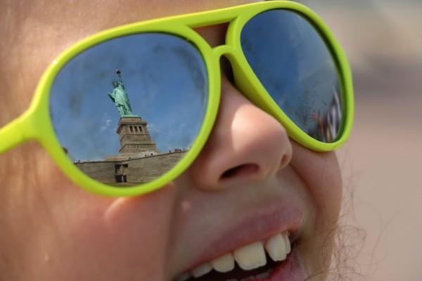 Met kinderen naar Amerika - vrijheidsbeeld